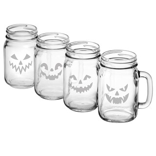 Scary Faces Collection Drinking Jar (Set of 4)