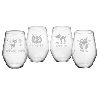 Scaredy Cat Collection Stemless Wine Glass (Set of 4)