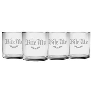Bite Me Slim Rocks Glass (Set of 4)