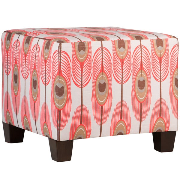 Beau Skyline Furniture Feathers Bittersweet Slub Square Ottoman
