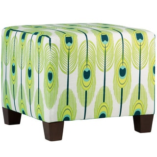 Skyline Furniture Blue/Green/Off-white Cotton/Pine Feather-print Square Ottoman