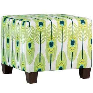 Skyline Furniture Blue/Green/Off-white Cotton/Pine Feather-print Square Ottoman