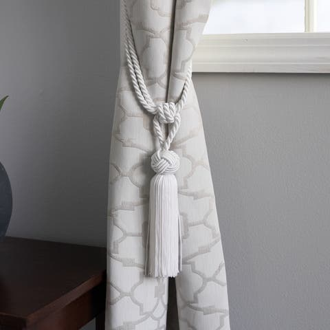Round-knot White Curtain Tassel Tiebacks (Set of 2) - 11 inches