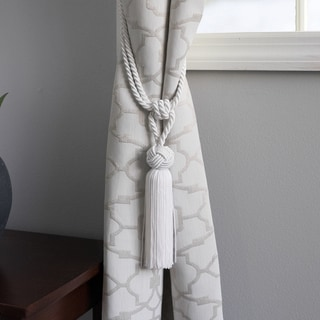Round-knot White Curtain Tassel Tiebacks (Set of 2)