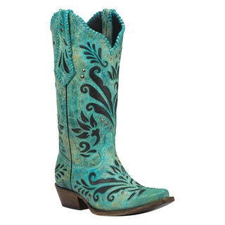 Black Star Zavala Turquoise Women's Leather Cowboy Boots