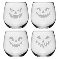 Scary Faces Collection Stemless Wine Glass (Set of 4)