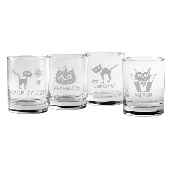 Scaredy Cat Collection Rocks Glass (Set of 4)