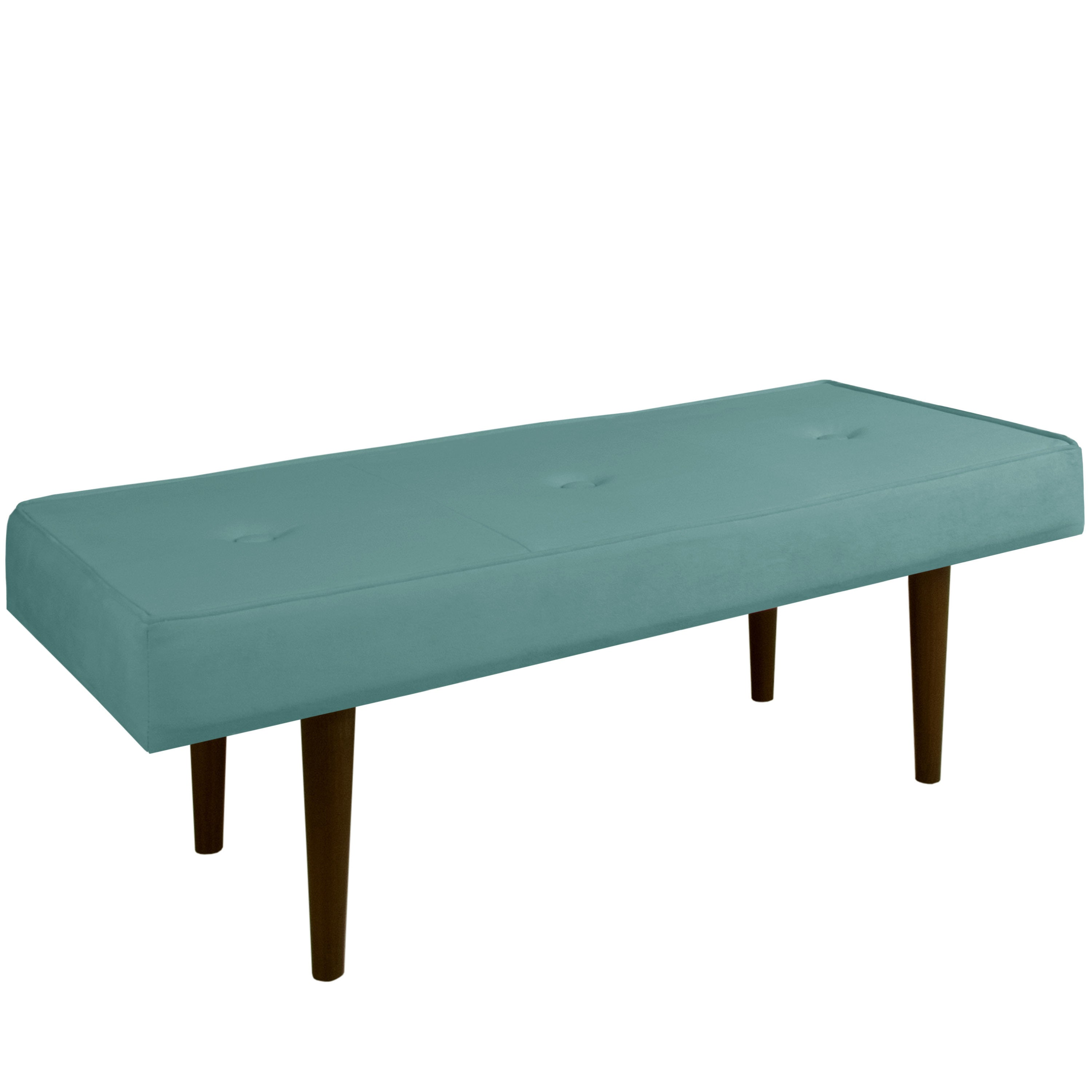 Skyline Velvet Caribbean Button-tufted Bench with Cone Le...