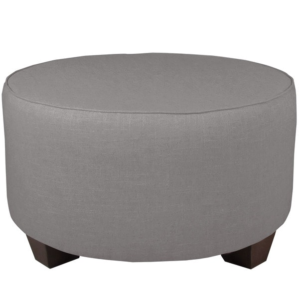 Skyline Furniture Grey Linen/Pine Round Cocktail Ottoman