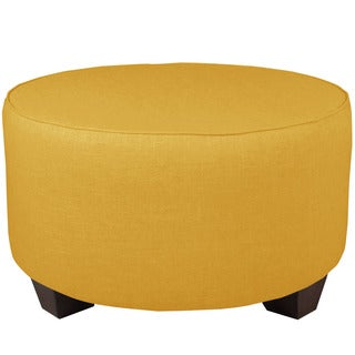 French Yellow Linen Round Cocktail Ottoman