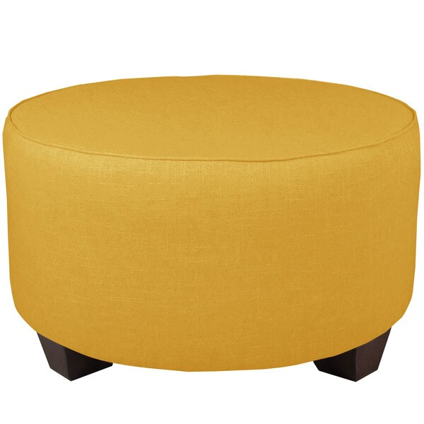 French Yellow Linen Round Cocktail Ottoman Free Shipping