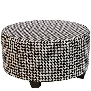 Skyline Furniture Berne Black/White Cotton Round Cocktail Ottoman