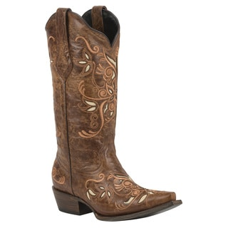 Black Star Costilla Brown Women's Leather Cowboy Boots