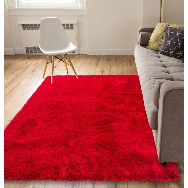 Well Woven Luster Modern Polyester Thick Shag Rug