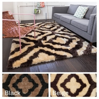 Well Woven Luster Modern Trellis Polyester Thick Shag Rug ( 6'7 x 9'10 )