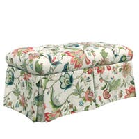 Skyline Furniture Brissac Jewel Red/Green/Cream Pine/Polyurethane/Linen/Rayon Skirted Storage Bench