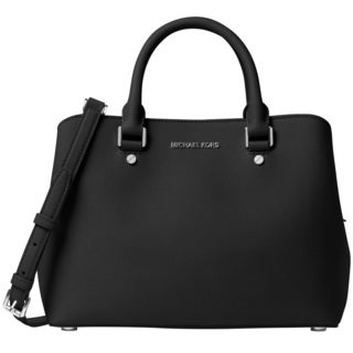 Michael Kors Savannah Medium Black Satchel Handbag