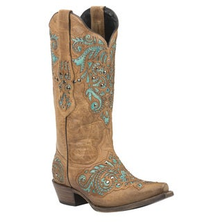 Black Star Duval Tan Women's Leather Cowboy Boots