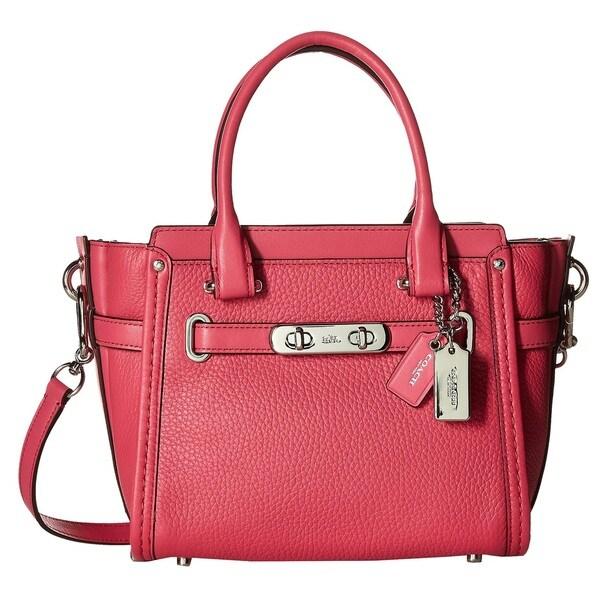Coach Pebbled Leather Swagger Silver/Dahlia Satchel Handbag - Free ...