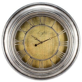 La Crosse Clock 404-2661 24-inch Round Silver Weathered Analog Wall Clock with Cut-out Numerals