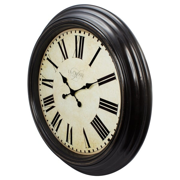 shop la crosse clock 404 2658 brown 23 inch round antique dial