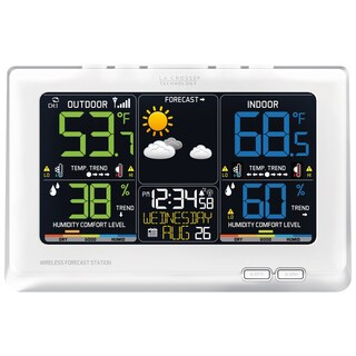 La Crosse Technology C87030 White Plastic Forecast Alarm Clock