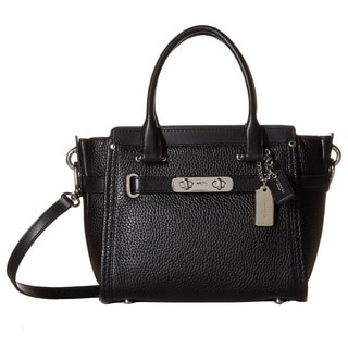 Coach Pebbled Leather Swagger Silver/Black Satchel Handbag