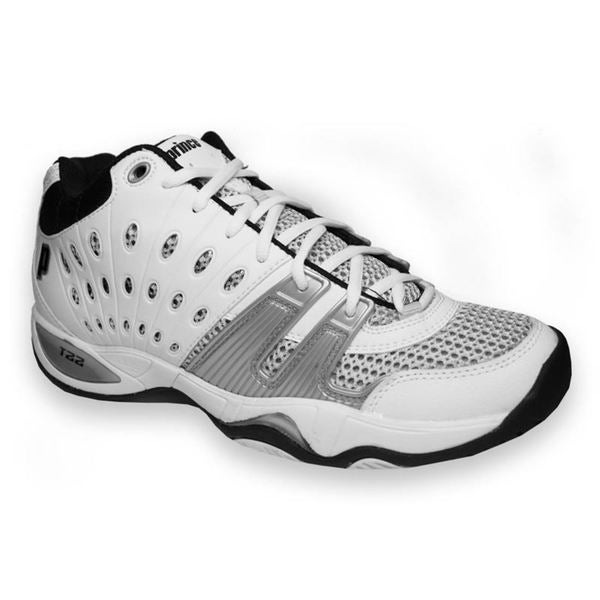 prince s t22 white black silver synthetic leather mesh