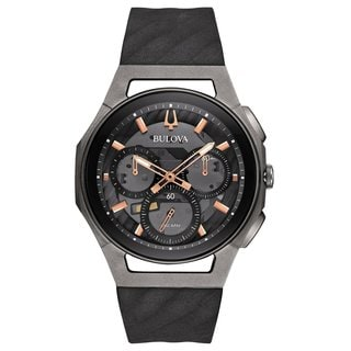 Bulova Men's 98A162 Stainless Steel and Titanium Case CURV Collection 5 Hand Chronograph Watch