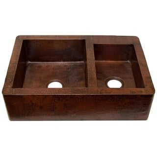 Novatto Farmhouse 60/40 Split Antique Copper Kitchen Sink