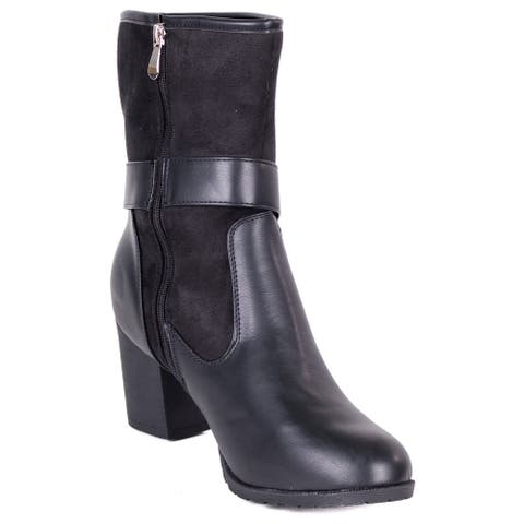 Women's Black Polyurethane and Suede Above-the-ankle Fashion Boots