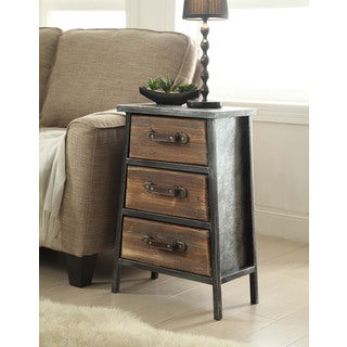 Urban Loft Collection Industrial Style Metal And Wood 3 Drawer Chest