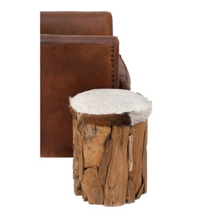 Urban Designs Hair-on-Hide Leather Wooden Rustic Cabin Stool Ottoman