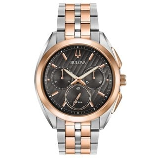 Bulova Men's 98A160 Stainless Steel Two Tone Rose Gold Tone and Silver tone Case and Bracelet CURV Collection
