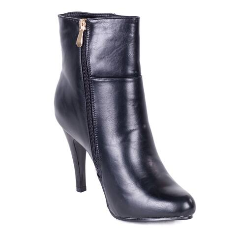 Women's Faux Leather Side-zipper Ankle Boots