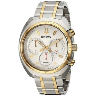 Bulova Men's 98A157 Stainless Steel Two Tone Gold and Silver Case and Bracelet with a Blue Dial CURV Collection