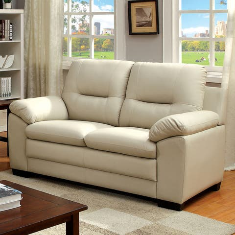 Furniture of America Lito Contemporary Faux Leather Padded Loveseat