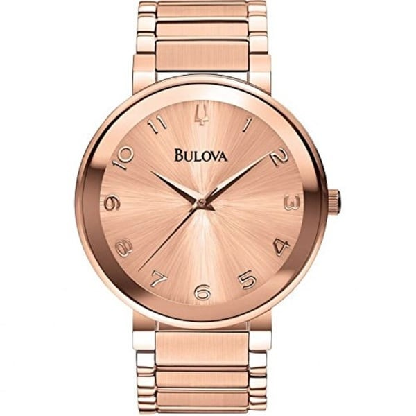 Bulova Women's Rose Gold Tone Stainless Steel Watch with a Scratch Resistant Mineral Crystal