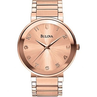 Bulova Women's 97L127 Rose Gold Tone Stainless Steel Watch with a Scratch Resistant Mineral Crystal