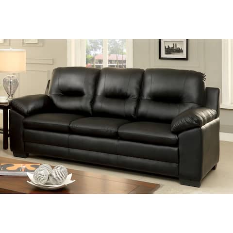 Furniture of America Lito Contemporary Faux Leather Padded Sofa