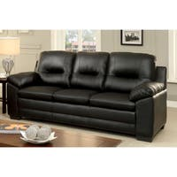 Furniture of America Morales Contemporary Plush Padded Leather Sofa