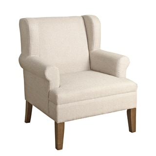 HomePop Emerson Wingback Accent Chair Albaster White