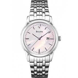 Bulova Women's 98M124 Silver Tone Stainless Steel Date Watch with a Pink Mother of Pearl Dial