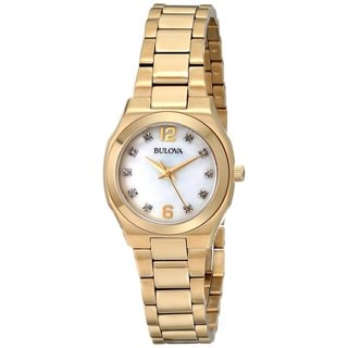 Bulova Ladies 97P109 Stainless Steel and Gold Tone Diamond Watch with a Sapphire Crystal