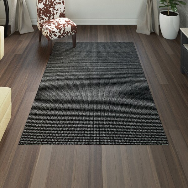 Porch & Den Chesterfield Black/ Charcoal Area Rug - 5' x 7'