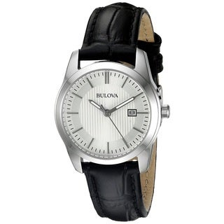 Bulova Women's 96M129 Silver Tone and Black Leather Stainless Steel Date Watch with Luminous Hands
