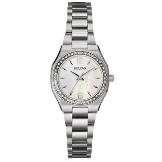 Bulova Ladies 96W199 Stainless Steel and Diamond Watch with a 30M water resistance and a Mother of Pearl Dial