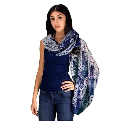 Peach Couture Women's Lightweight Multicolored Damask Paisley Cotton/Fabric Scarves Summer Shawls Sheer Wraps