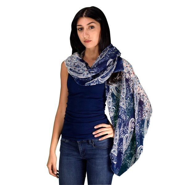Peach Couture Women's Lightweight Multicolored Damask Paisley Cotton/Fabric Scarves Summer Shawls Sheer Wraps. Opens flyout.