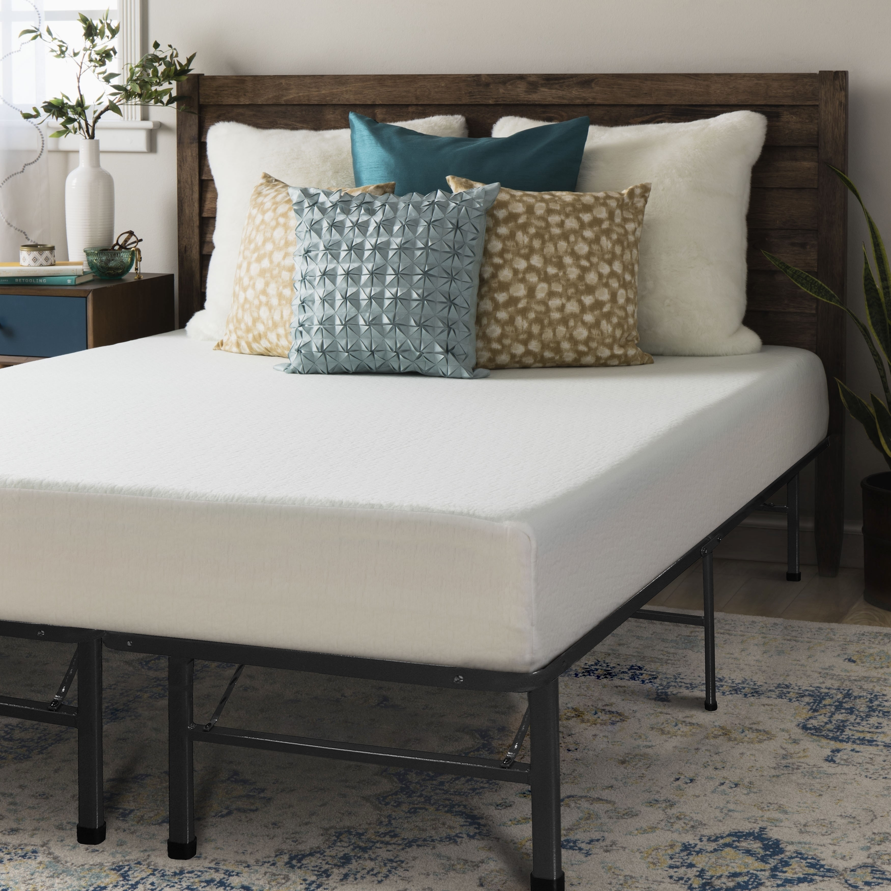 Crown Comfort 8-inch Queen-size Bed Frame and Memory Foam...